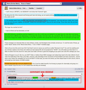 Lying comments about Maria Divine Mercy